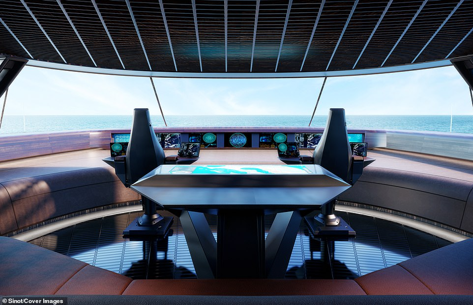 The ship's wheelhouse is locatedunder a bubble hood-shaped roof on the bridge deck and has a 360 degree view of the surrounding ocean. It is from this spaceship-like room that the ship's captain and his 32-strong crew operate the vessel