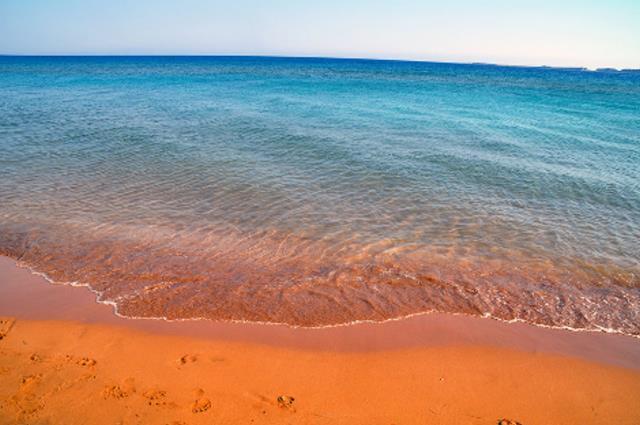 Πορτοκαλί παραλία Κεφαλονιά αμμουδιά