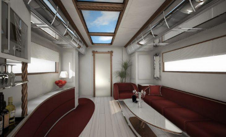 Τροχόσπιτο παλάτι: Έχει θερμαινόμενο πάτωμα, αφαιρούμενη οροφή, τζάκι, κοκτέιλ μπαρ και μέσα θυμίζει κρουαζιερόπλοιο