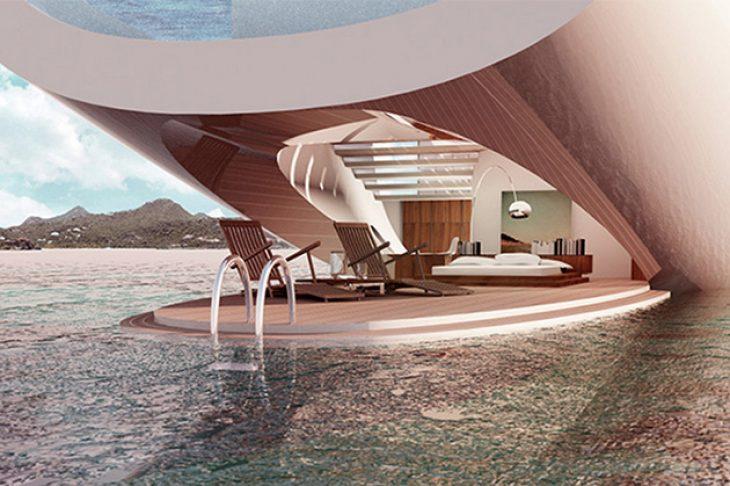 Πλωτό παλάτι: Είναι 55 μέτρα, χωράει 12 άτομα, είναι πιο πολυτελές από 6στερο ξενοδοχείο και έχει γυάλινους τοίχους