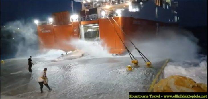 Σίκινος: H μάχη του πλοίου 'Διονύσιος Σολωμός' με τα κύματα σε βίντεο