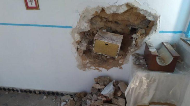 Λέσβος: Δράστες γκρέμισαν τον τοίχο εκκλησίας για να πάρουν το παγκάρι
