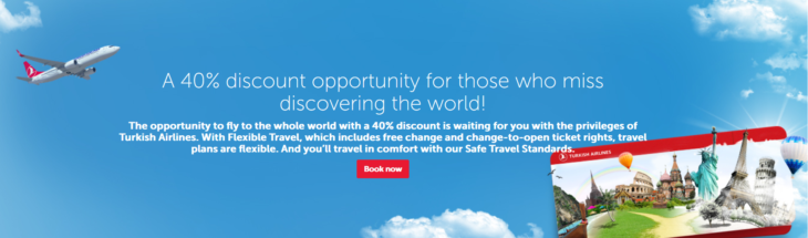 Turkish Airlines: Έκπτωση 40% για ταξίδια για Απρίλιο-Δεκέμβριο 2021