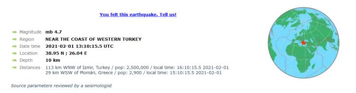 Σεισμός τώρα: Σεισμός 4,5 ρίχτερ στη Λέσβο - Ο 4ος από το πρωί