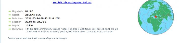 Σκύρος: Σεισμός 3,4 ρίχτερ 20 χιλιόμετρα από το νησί της Σκύρου