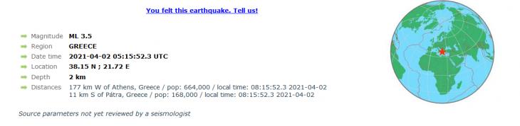 Πάτρα σεισμός: Σεισμός 3,6 ρίχτερ έλαβε χώρα στην πόλη της Πάτρας