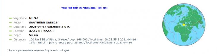 Τρίπολη: Σεισμός 3,2 ρίχτερ κοντά στην πόλη της Τρίπολης