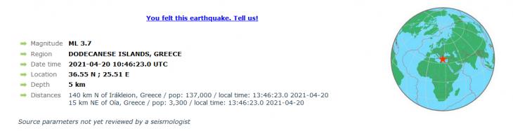 Σεισμός στη Σαντορίνη: Νέος σεισμός 3,4 ρίχτερ κοντά στο νησί