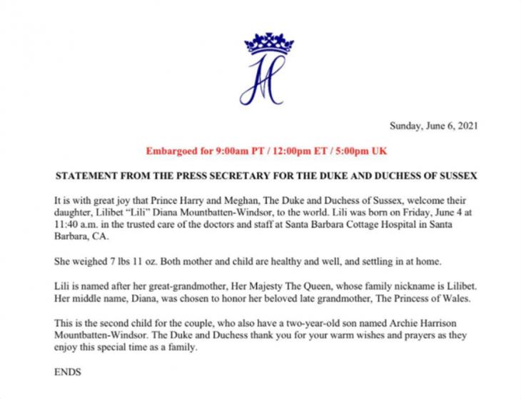 Μέγκαν Μαρκλ: Αφιερωμένο στην πριγκίπισσα Νταιάνα το παιδί της