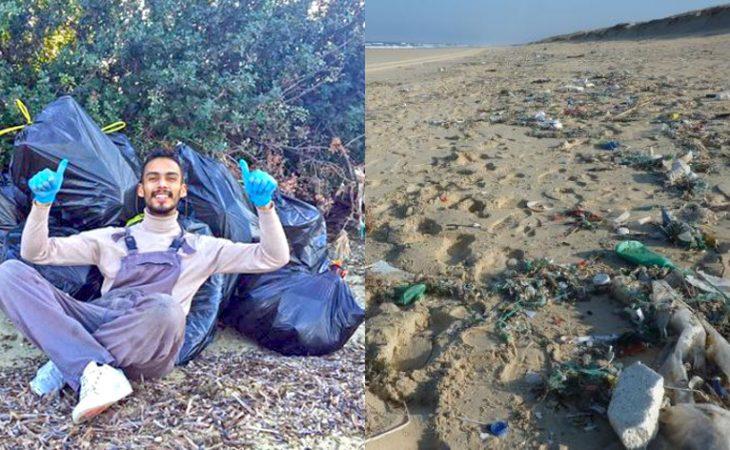 Κωνσταντίνος Χριστόπουλος: Πήρε γάντια και σακούλες και καθάρισε μια ολόκληρη παραλία