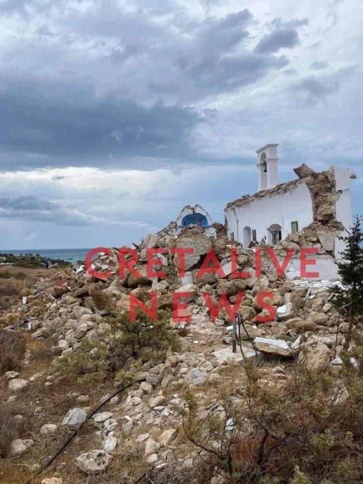 Κατέρρευσε υπό την πίεση των ρίχτερ το εκκλησάκι του Αγίου Νικολάου: Φοβερές καταστροφές στην Κρήτη